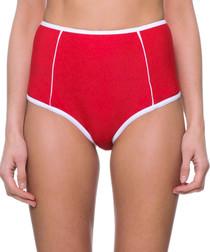 red & white high waist bikini bottoms