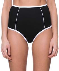 black & white high waist bikini bottoms