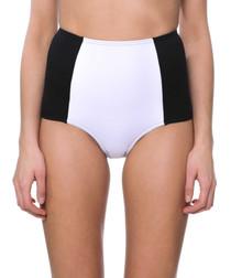 luisa white high-waist bikini briefs