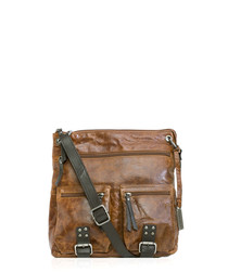 khaki leather pocket satchel