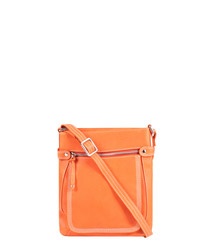 tangerine leather crossbody bag