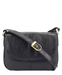 black leather fold crossbody bag