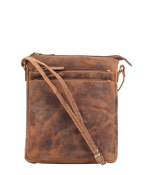 tan leather antiqued crossbody bag