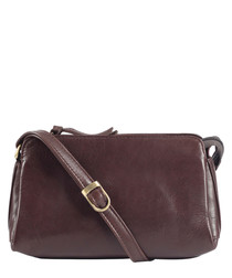 oxblood leather zip messenger bag