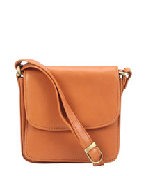 tan leather fold satchel