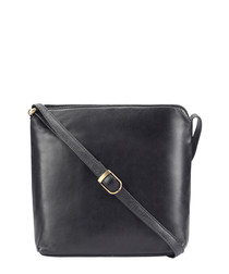black leather zip satchel