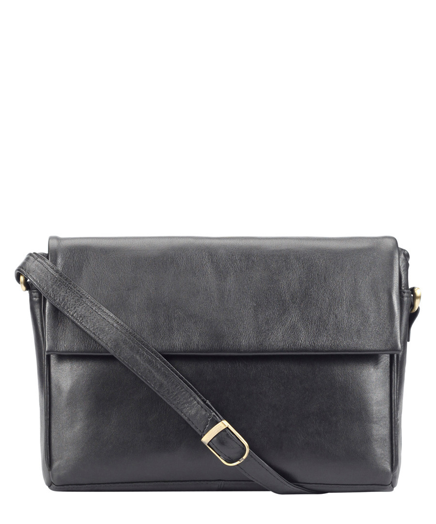 black leather fold messenger bag Sale - Lloyd Baker