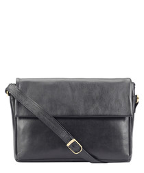 black leather fold messenger bag
