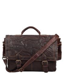 walnut leather crush briefcase