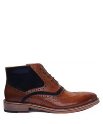 tan leather & suede brogue boots