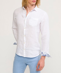 White pure cotton contrast sleeve shirt