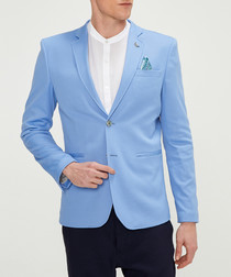 Blue cotton blend blazer