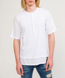White cotton half-sleeve polo shirt