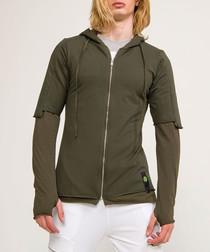 Khaki zip-up hoodie