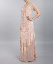 pale pink silk-rich V-neck maxi dress