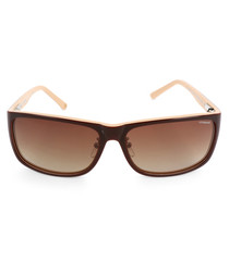 brown slim D-frame sunglasses
