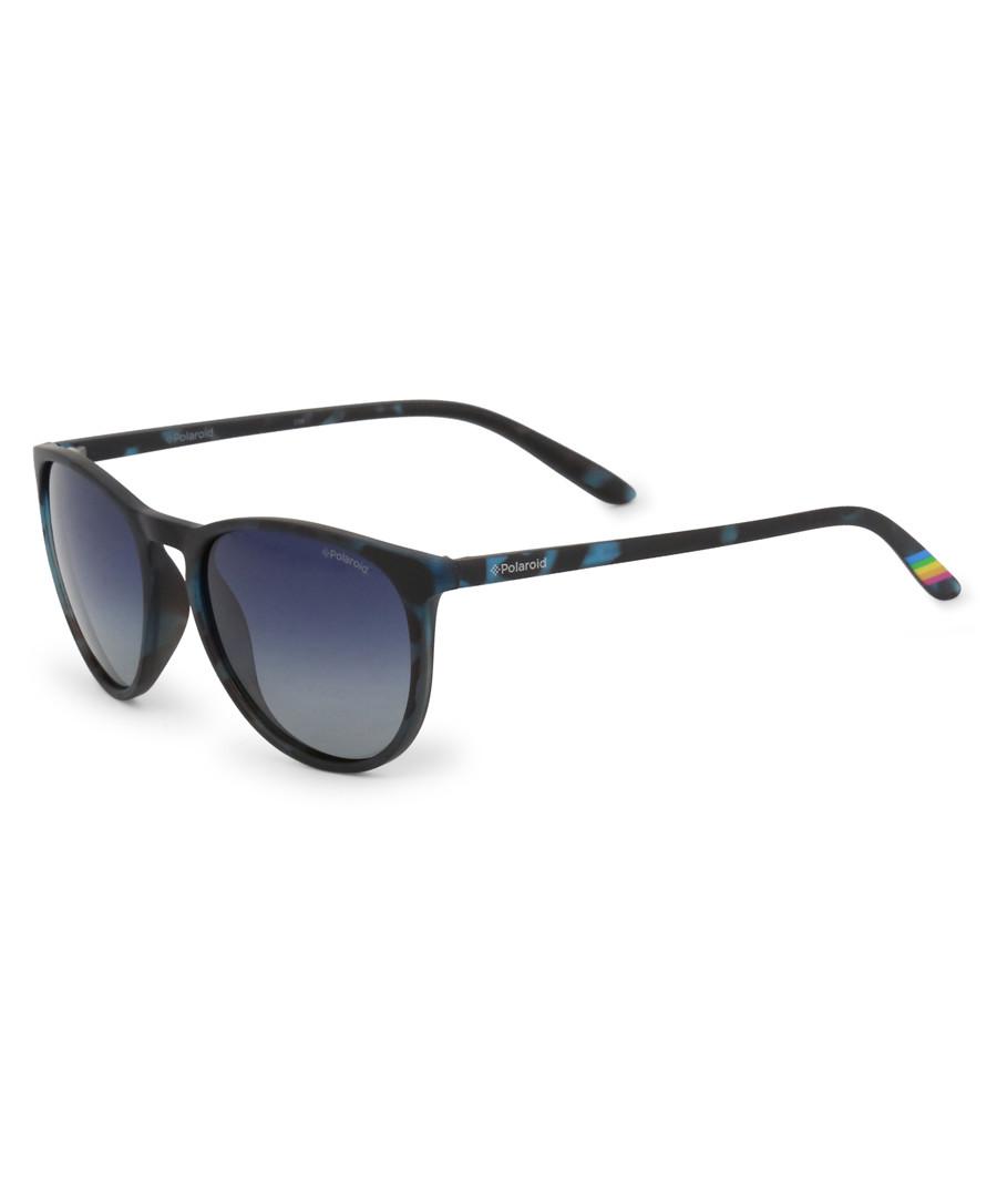 blue Havana rounded D-frame sunglasses Sale - polaroid