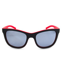 black & red D-frame sunglasses