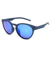 blue rounded D-frame sunglasses