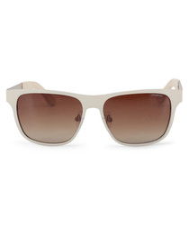 cream squared D-frame sunglasses
