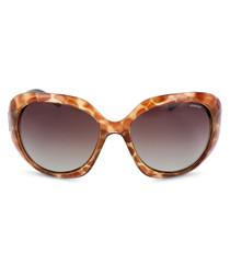pale tortoiseshell rounded sunglasses