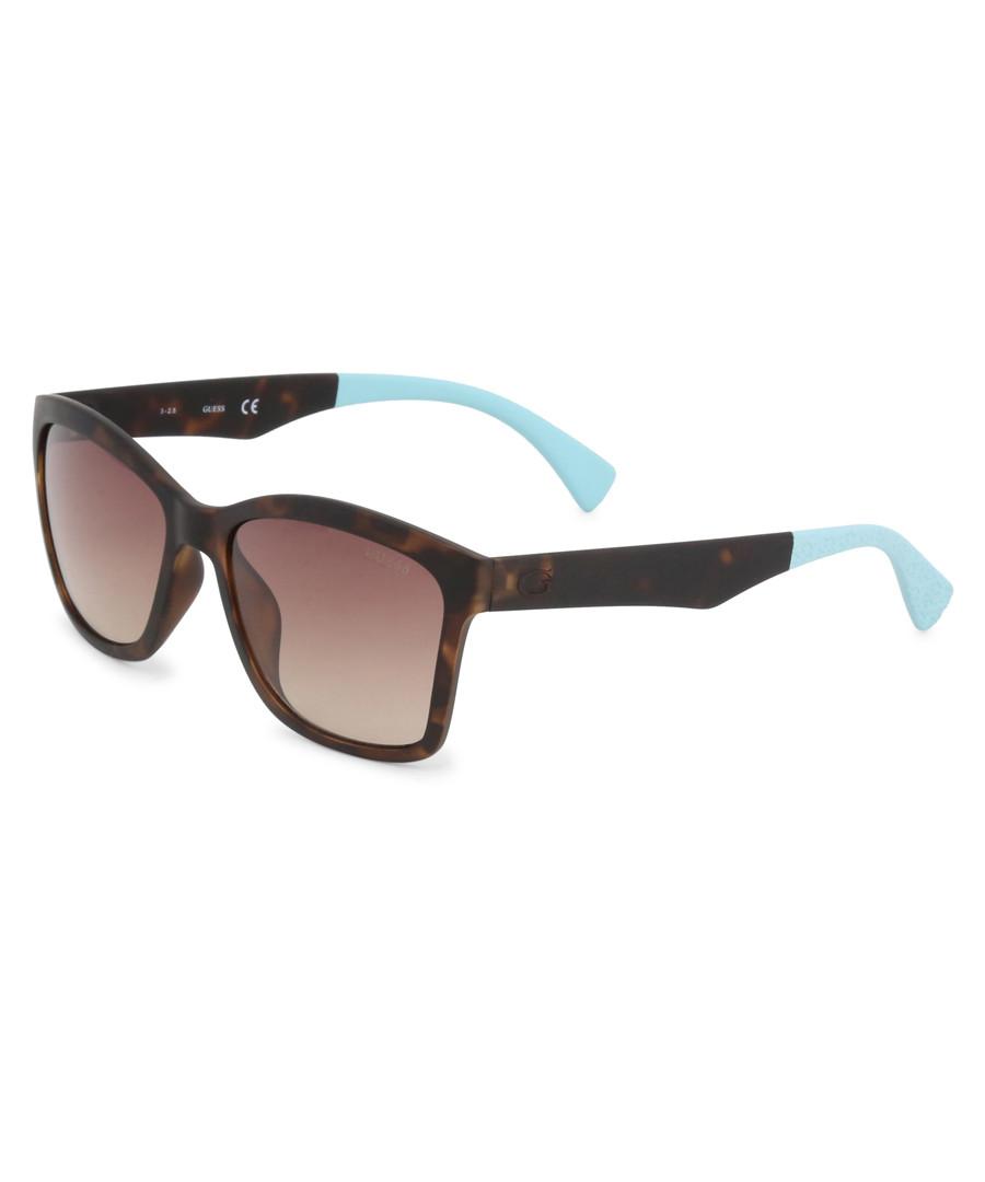 dark Havana & blue squared sunglasses Sale - guess