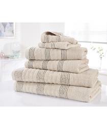 6pc Spa taupe cotton towel bales