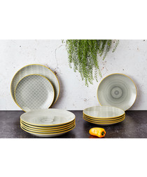 6pc eclipse ceramic dinner plate set