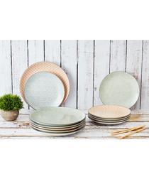6pc pastel ceramic dinner plate set