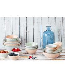 6pc pastel ceramic salad bowl set
