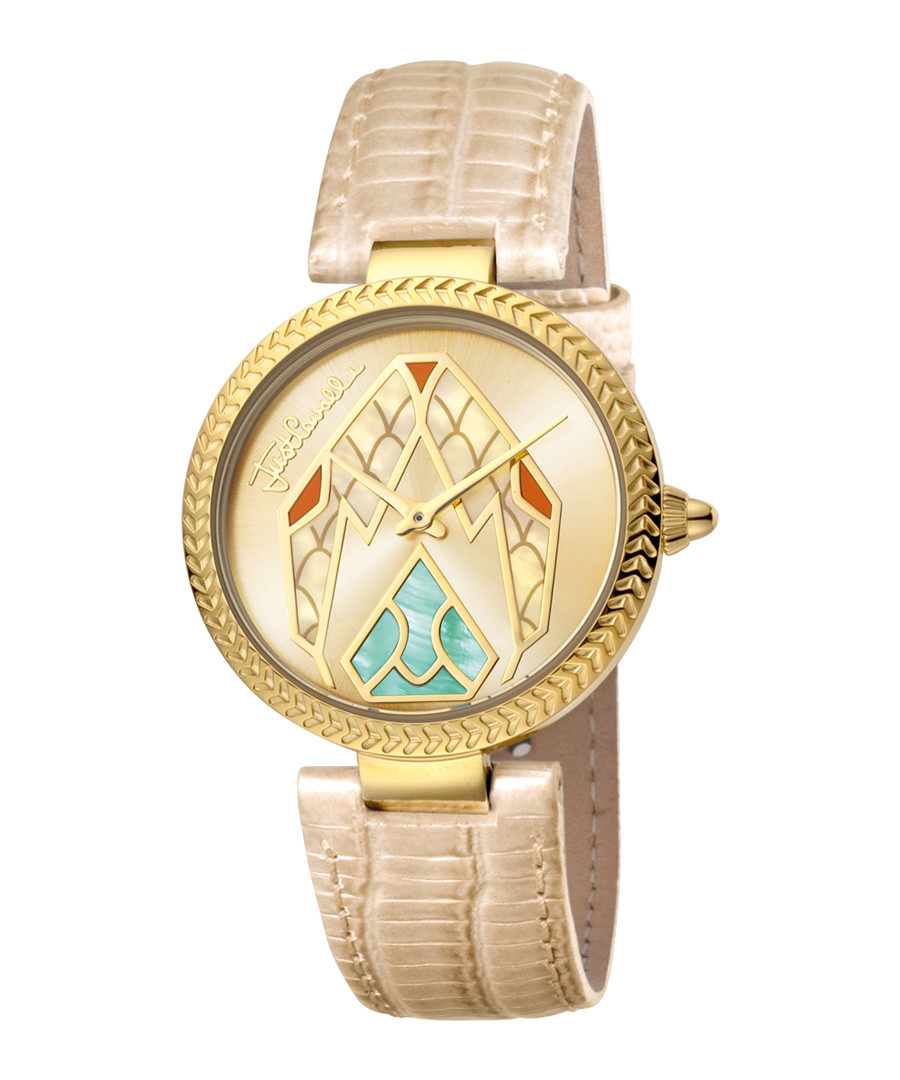 Gold-tone & nude serpent dial watch Sale - just cavalli