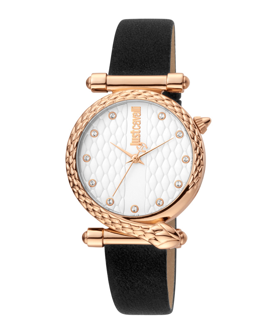 Rose gold-tone & black leather watch Sale - JUST CAVALLI