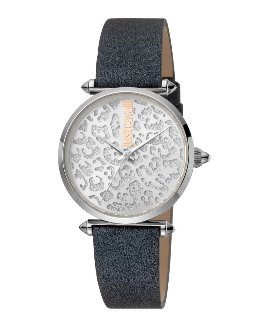 Silver-tone & black leather watch Sale - JUST CAVALLI