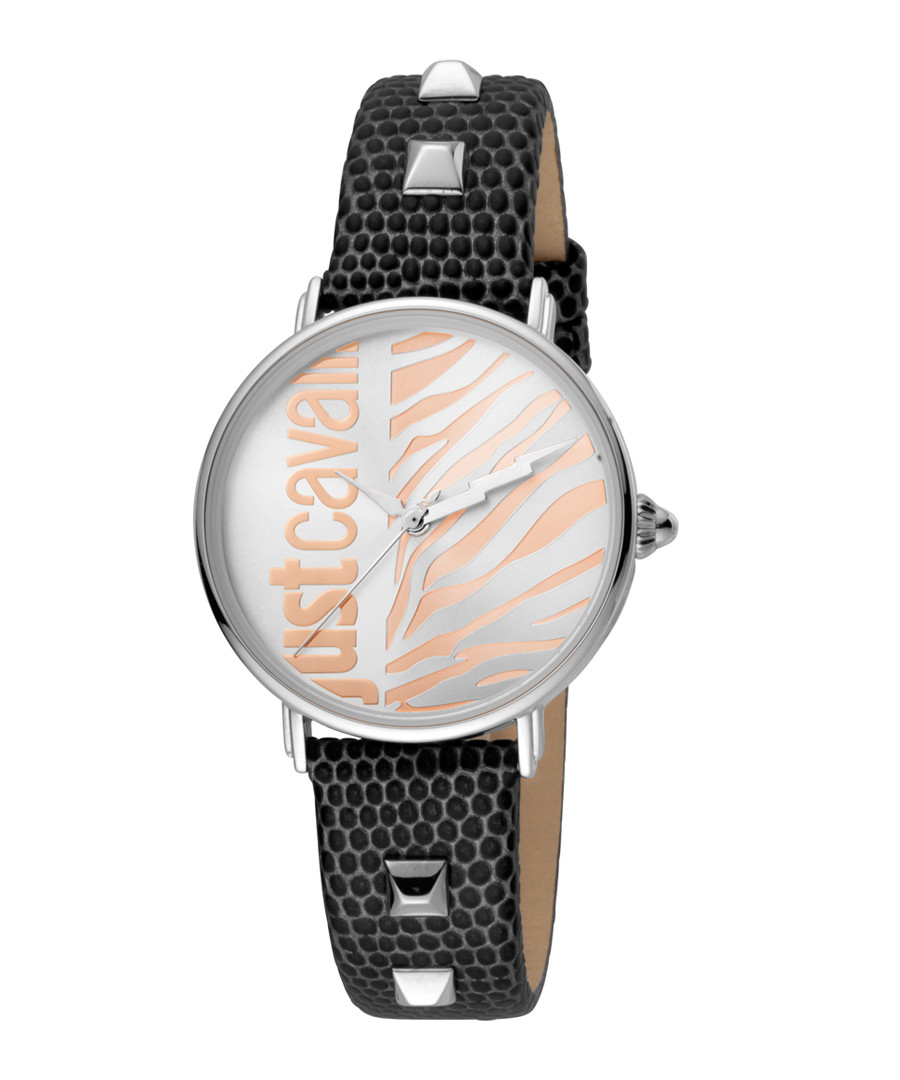 Silver-tone & black leather watch Sale - JUST CAVALLI