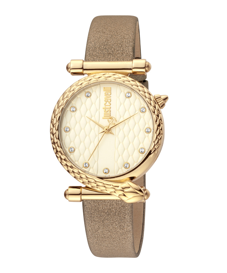 Gold-tone & bronze leather serpent watch Sale - just cavalli