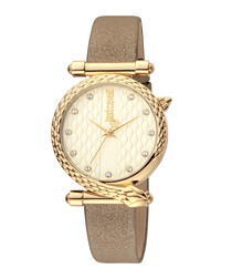 Gold-tone & bronze leather watch