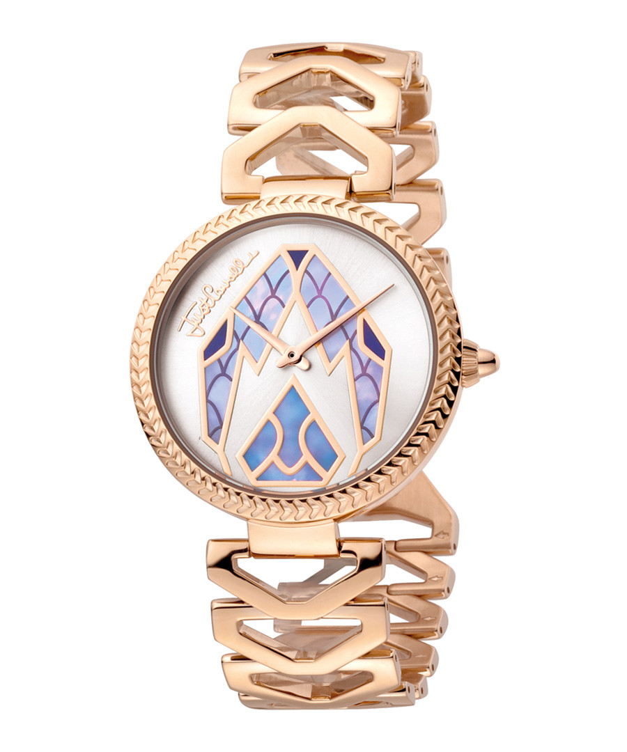 Gold-tone & lilac serpent dial watch Sale - just cavalli