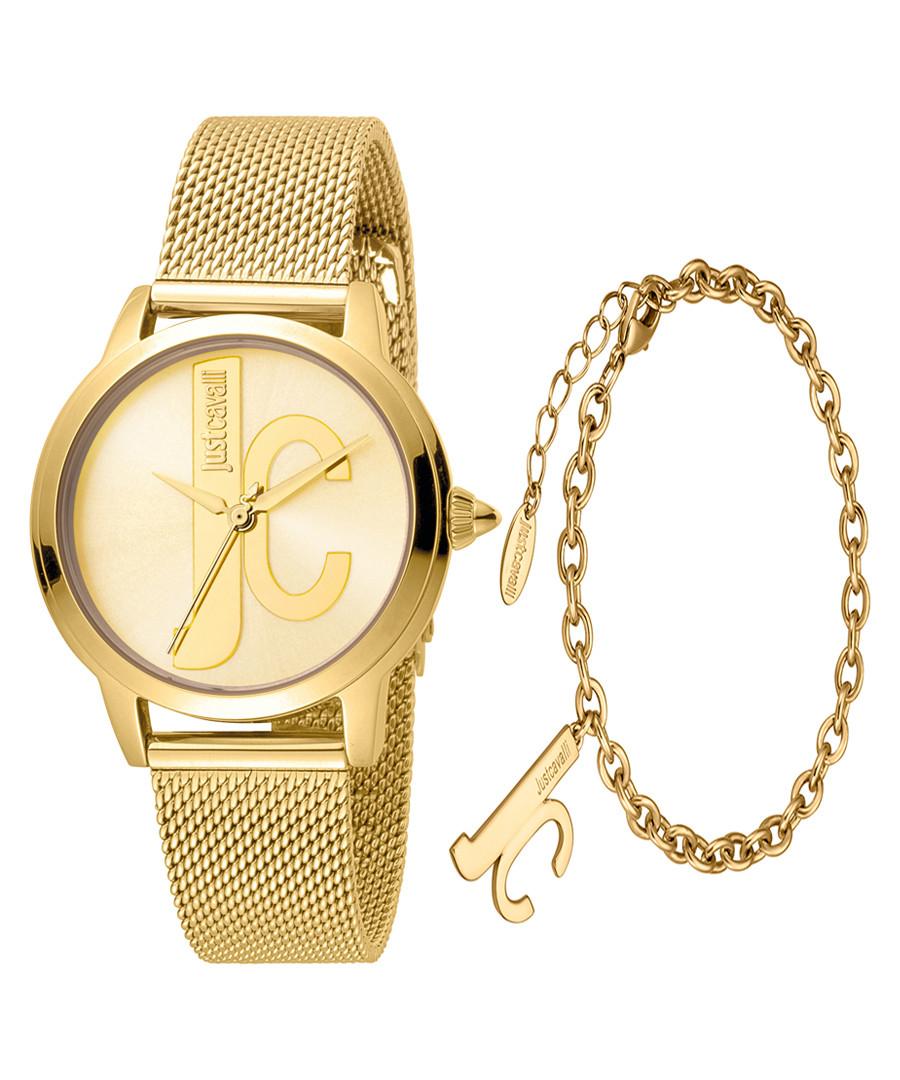 2pc Gold-tone steel watch & bracelet set Sale - just cavalli