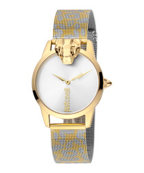 Gold-tone leopard steel strap watch