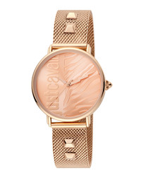 Rose gold-tone studded strap watch