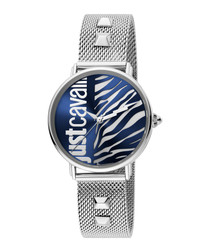 Blue & silver-tone studded strap watch