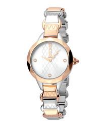 Dual-tone bracelet strap watch