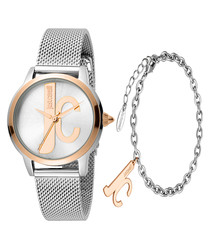 Dual-tone logo watch & bracelet set