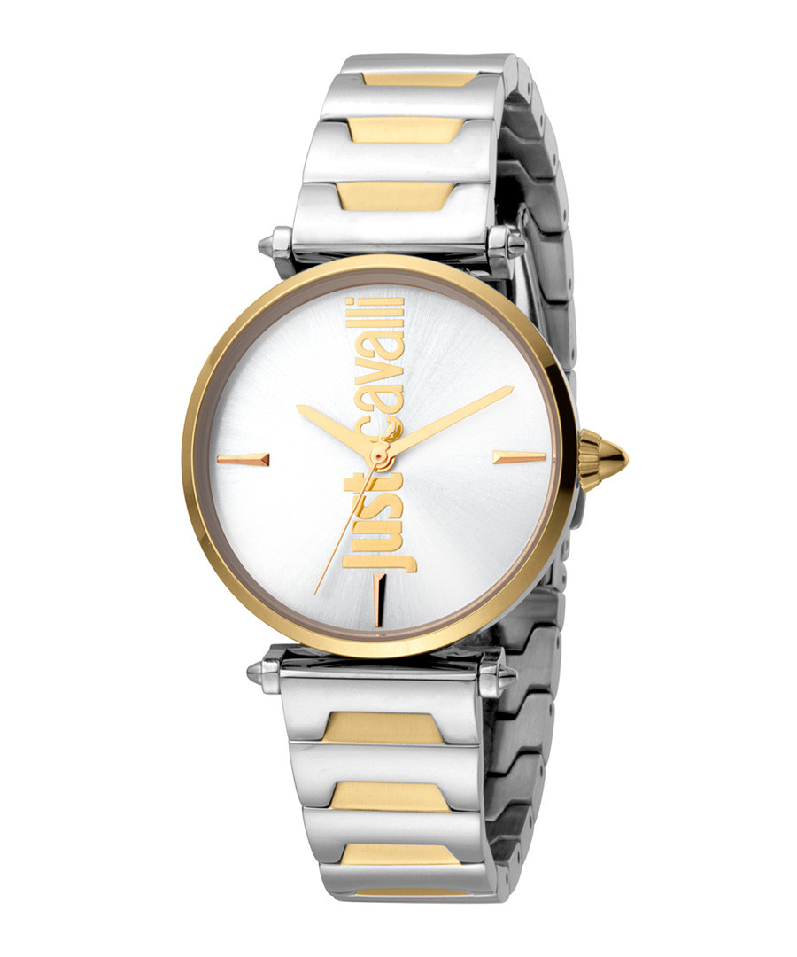 Dual-tone link strap logo watch Sale - just cavalli