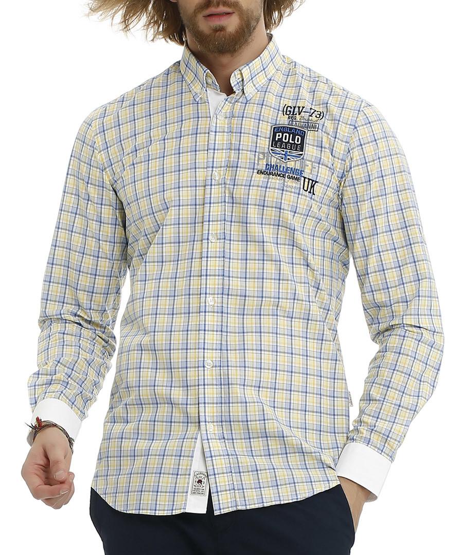 Blue & yellow button-up long sleeve shirt Sale - galvanni