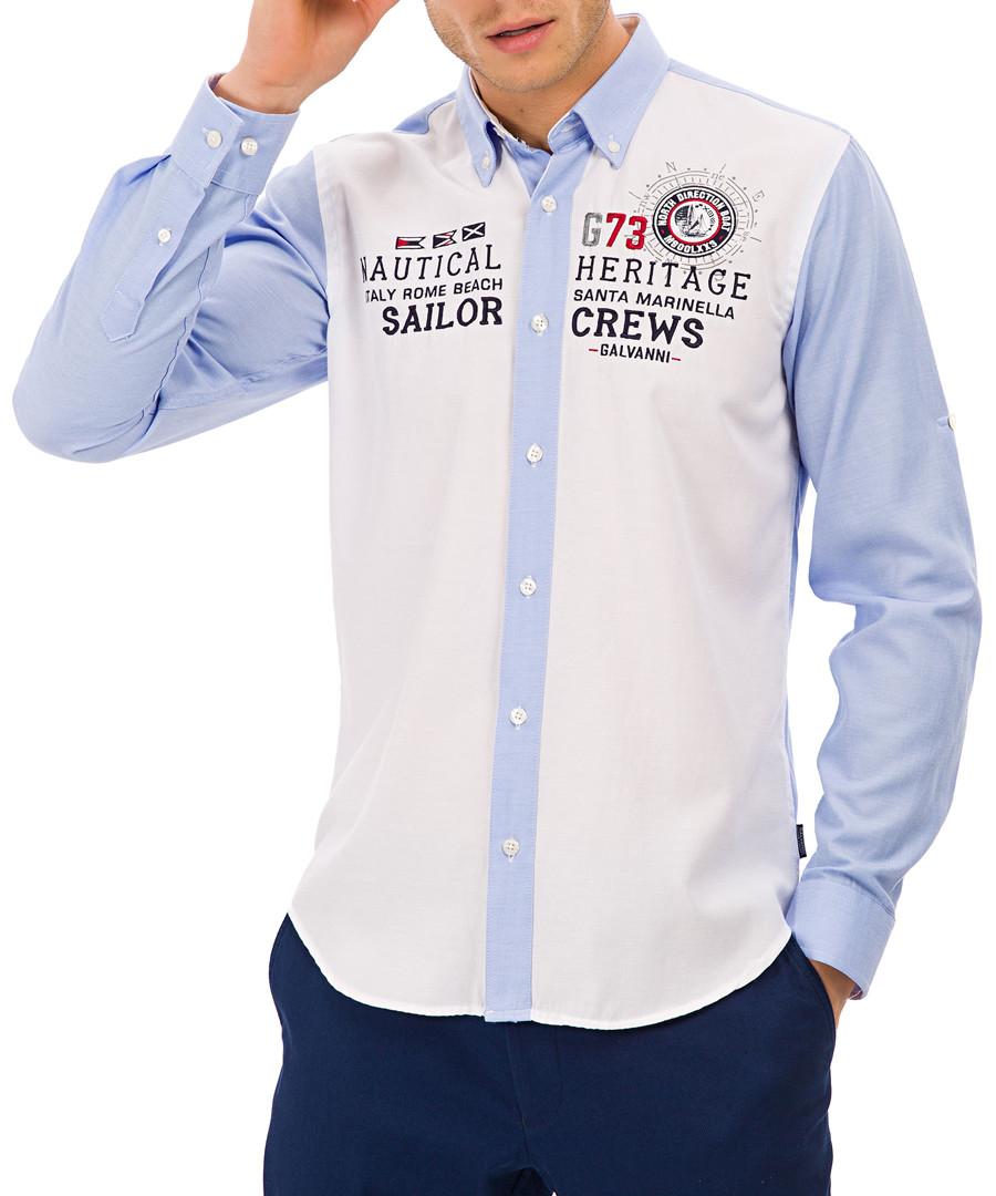 White & light blue print button-up shirt Sale - Galvanni