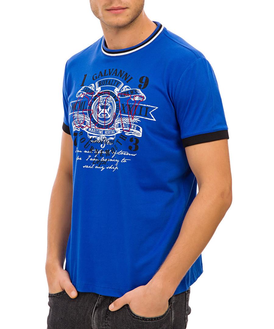Blue crew neck graphic print T-shirt Sale - Galvanni