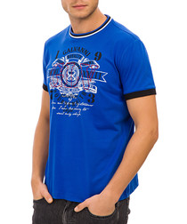 Blue crew neck graphic print T-shirt