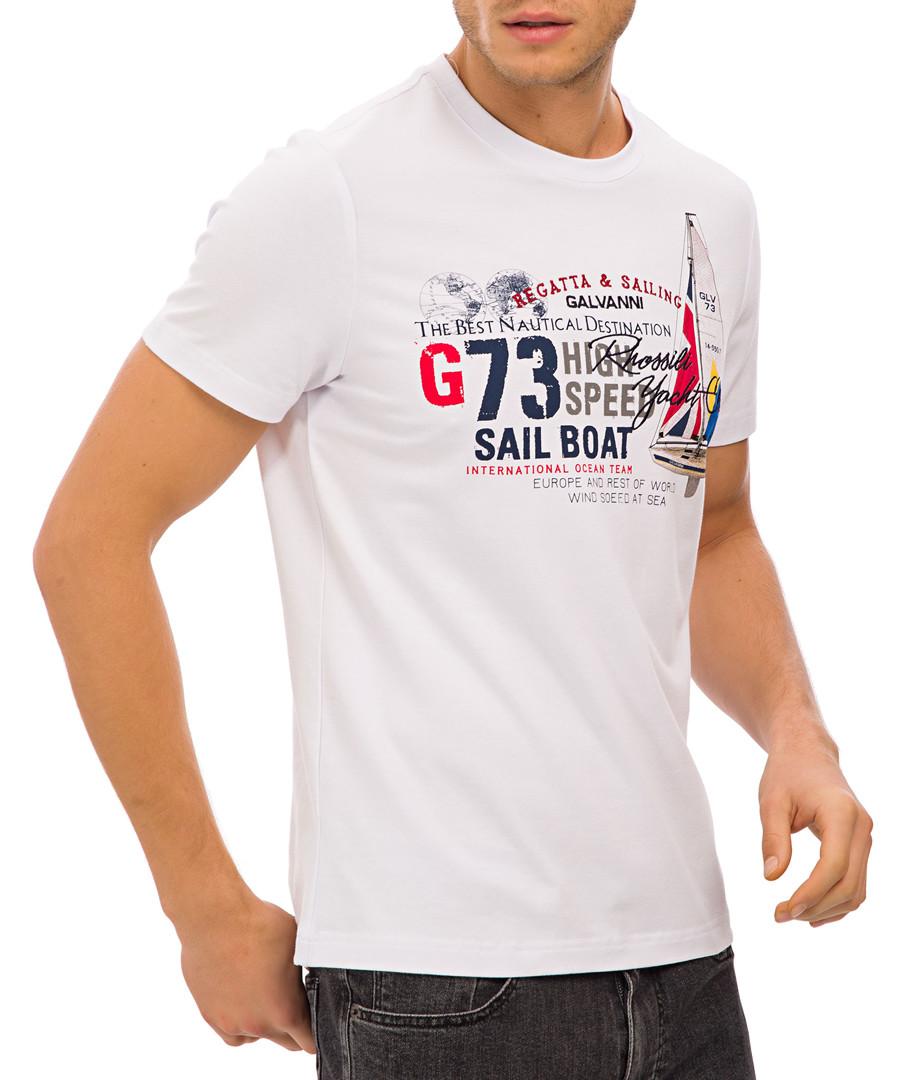 White crew neck graphic print T-shirt Sale - Galvanni