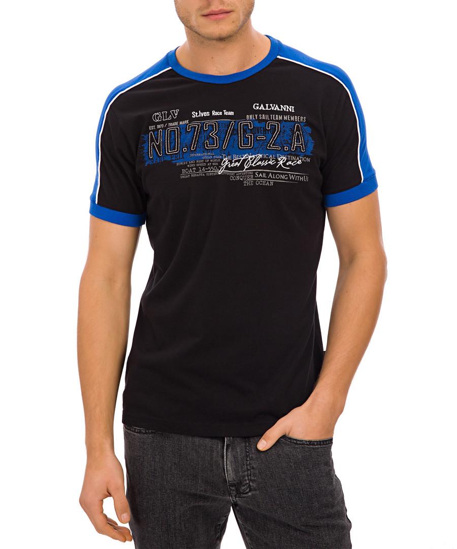 Black crew neck graphic print T-shirt Sale - Galvanni